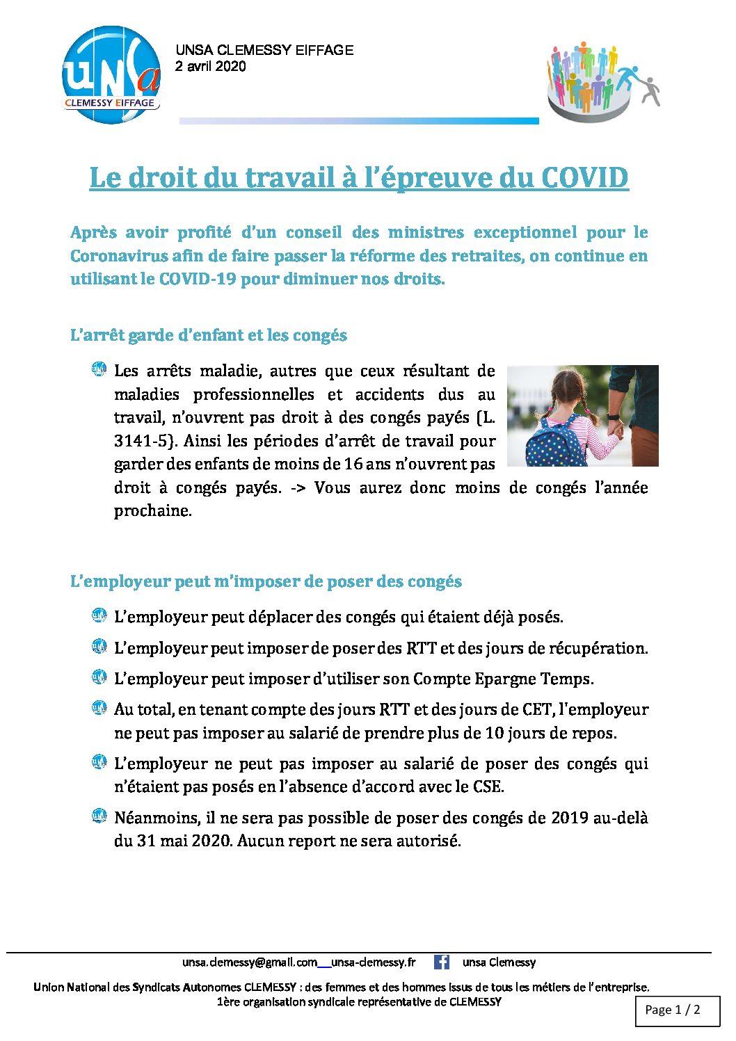 03 Covid-19 _Droit du travail